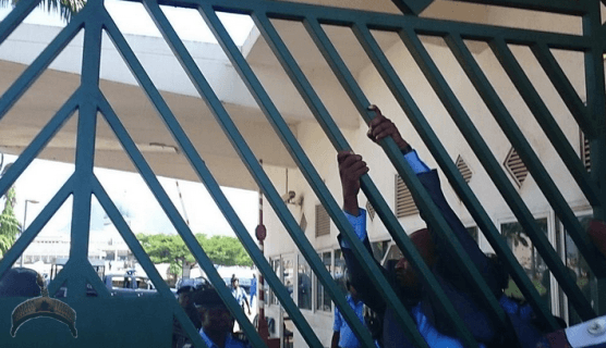 1 114 Turmoil in National Assembly as Law makers scale fence to gain access into the complex