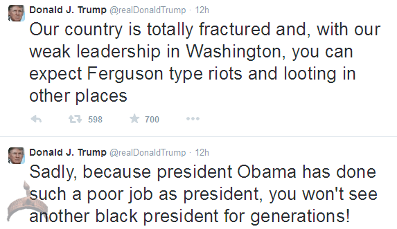 155 Because of how poorly Obama has done as president, US wont see a black president for generations Donald Trump