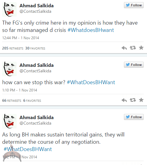 akin54 Full Analogy Of What Boko Haram Wants By Ahmad Salkida Nigerian journalist #WhatDoesBHWant