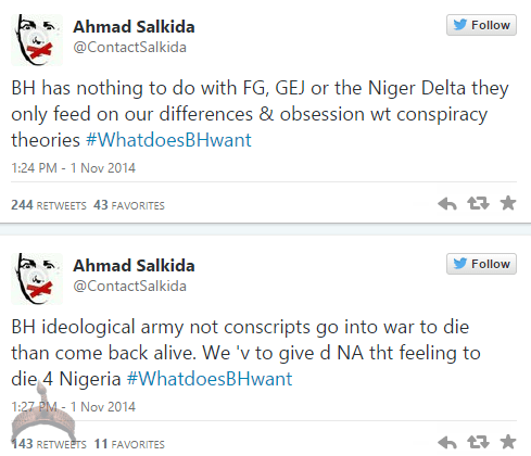 akin57 Full Analogy Of What Boko Haram Wants By Ahmad Salkida Nigerian journalist #WhatDoesBHWant