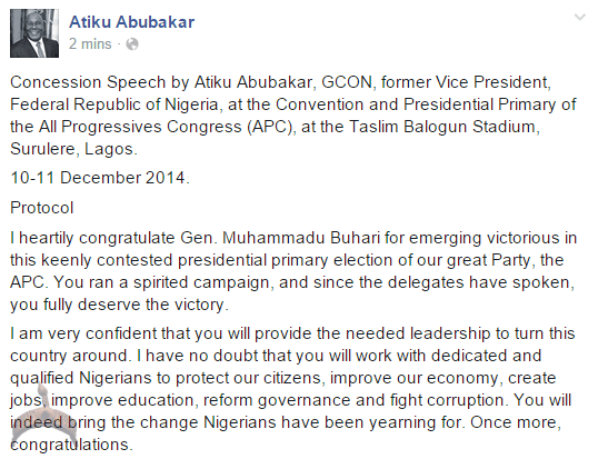 apc2 Former Vice president Atiku Abubakar congratulates Buhari