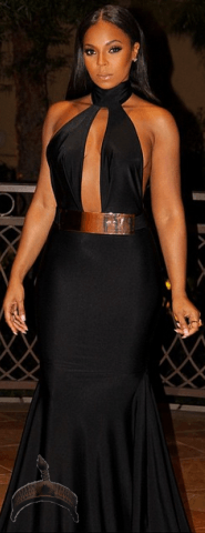 ashanti2 Photos: Ashanti stuns in black gown at Nascar Awards in Vegas