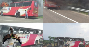 chinese tourist bus on fire