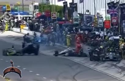 3 racecars crash