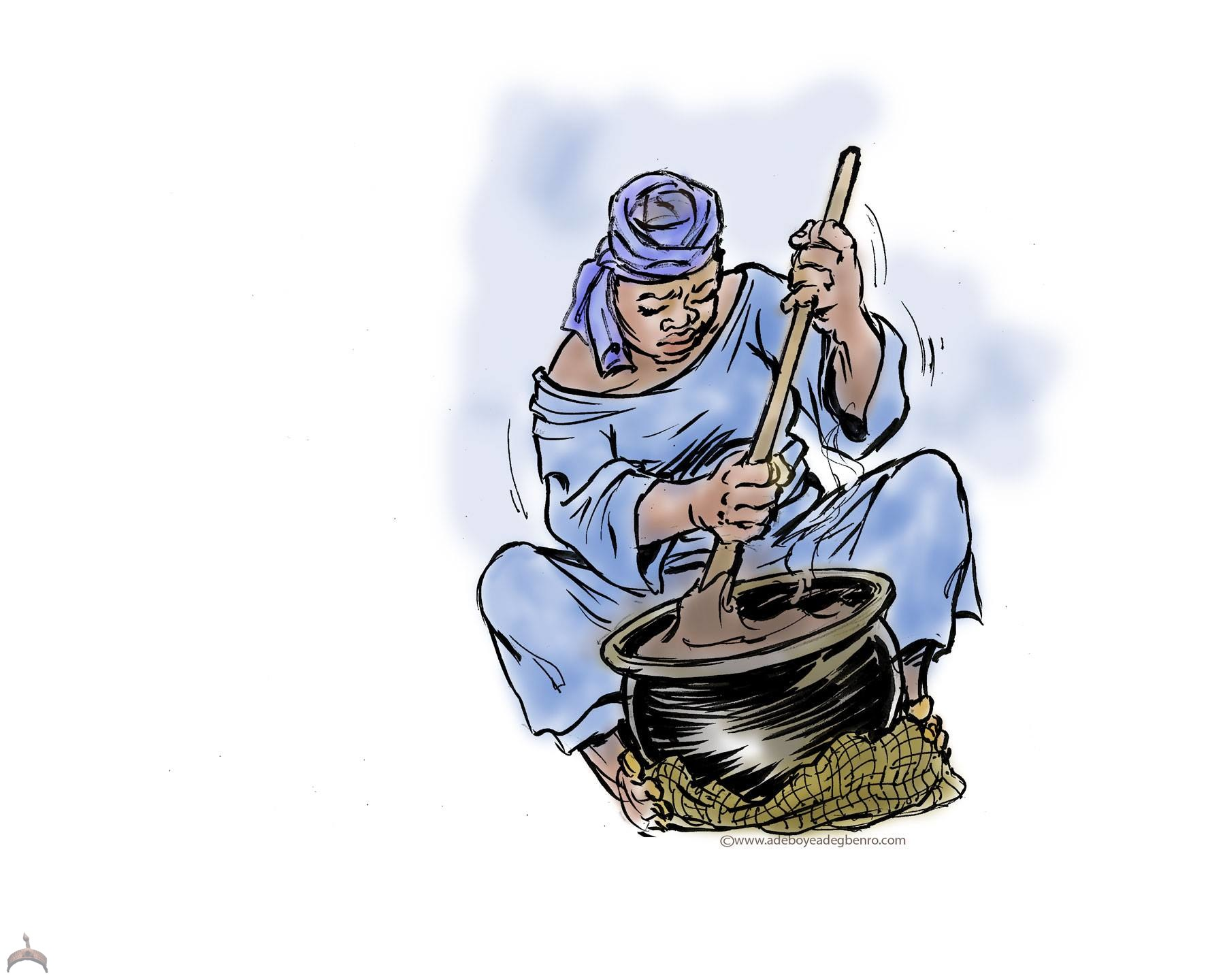 The Amala Maker at kọ́bítí © Adeboye Adegbenro