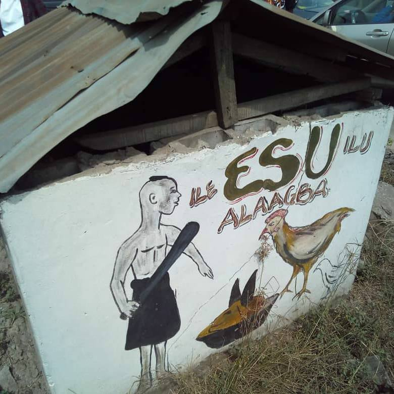 Esu Alaagba shrine at Iyanapaja Esu is not satan