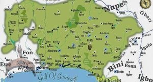 """The map of the Yoruba cultural area of Nigeria and West Africa"""""""