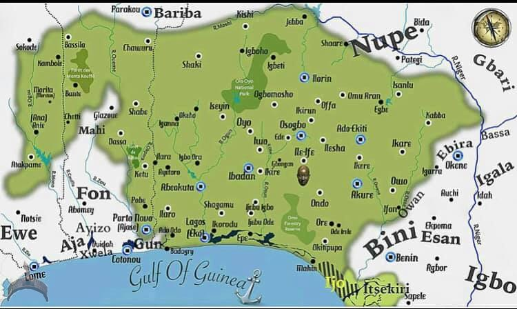 The map of the Yoruba cultural area of Nigeria and West Africa""