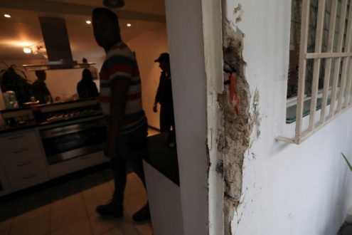 Damage is seen at the residence of Roberto Marrero, chief of staff to opposition leader Juan Guaido, after he was detained by Venezuelan intelligence agents