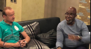 Super Eagles coach, Gernot Rohr and Amaju Pinnick ooduarere.com
