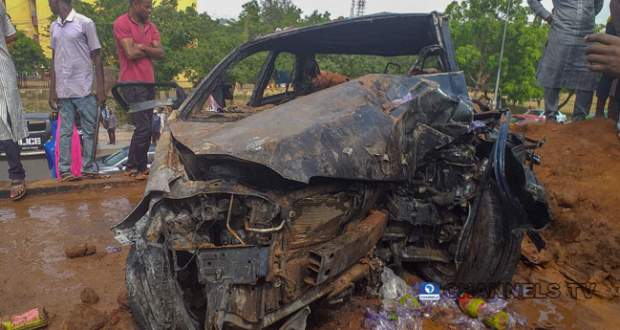 Two Friends survive Terrible Accident After Car Somersaulted Twice In Abuja1