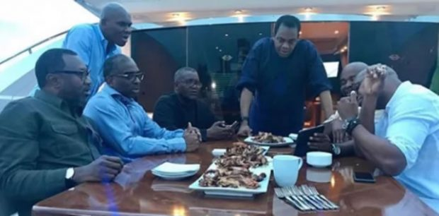 From L-R: Femi Otedola of Forte Oil, Segun Awolowo of Nigeria Export Promotion Council (NEPC), Sam Nwajokwu, Alhaji Aliko Dangote, Donald Duke – former Cross River State Governor, Tunde Ayeni – former Chairman of the defunct Skye Bank and Charles Ahize hanging out on Dangote's luxury yacht in Lagos. ooduarere.com
