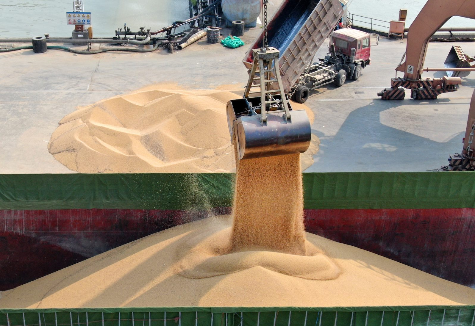 Soybeans from Ukraine are unloaded at the port in Nantong, in eastern China. Imports of soy used to come from the US, but have slumped since the trade war began.