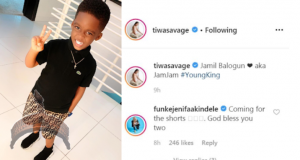 Tiwa Savage Praises Son In New Pictures as Legendary film maker, Funke Akindele Reacts