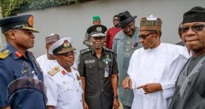 president buhari some governors security chiefs after their meeting state house abuja friday