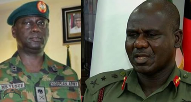 L-R Commandant, Ikeja Cantonment, Major General Musa Sanni Yusuf and Chief of Army Staff, Lt.-Gen Tukur Buratai