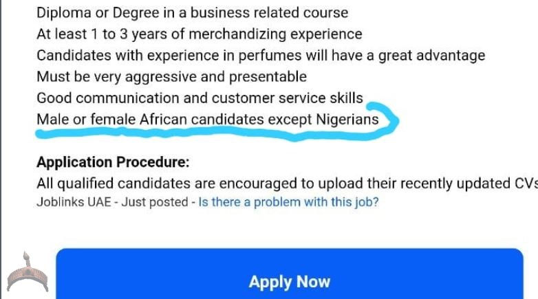 Dubai racist job ad